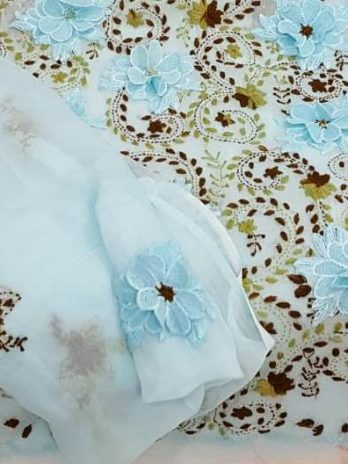Pakistani Shafoon  Dress 3D Flower With Duppta