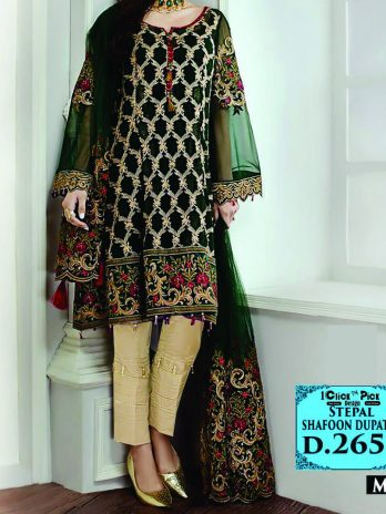 Barooq Staple Dress for women Online Shopping Kharian Pakistan wool shafoon Duppta black