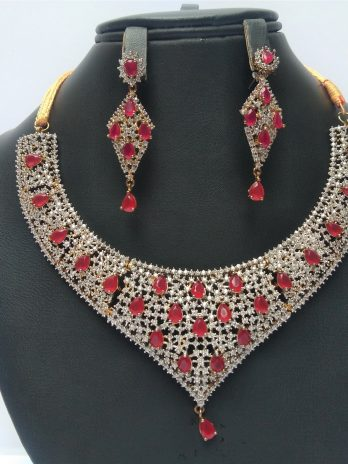 Necklace And Earrings With Red Stone Women Jewlery Online SHopping Kharian Pakistan