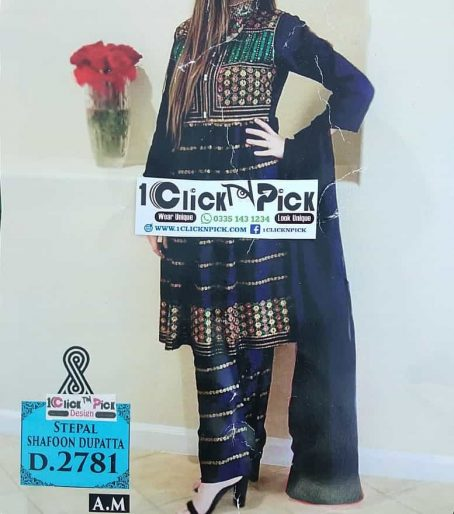 Blue Stepal Embroidery Dress 3 PCS Pary Wear Winter Collection