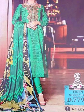 Green Linen Dress With Whool Shall WInter Collection Kharian Pakistan Online Shopping