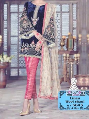 Linen Embroidery Dress With Whool Shall 3PCS Printed Trouser online Shopping Kharian Pakistan