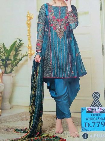 Linen Embroidery Dress With Whool Shall 3PCS online Shopping Kharian Pakistan