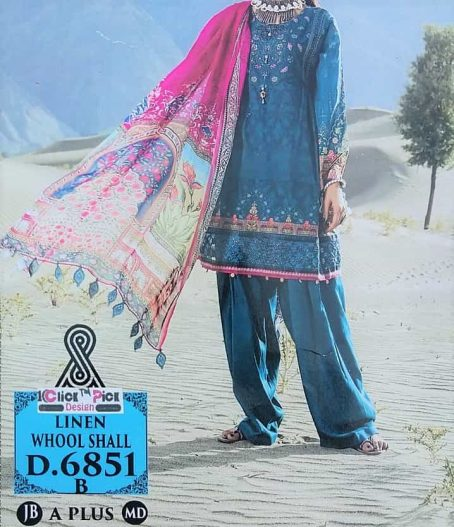 Linen Neck Embroider Dress With Whool Shall 3PCS online Shopping Kharian Pakistan