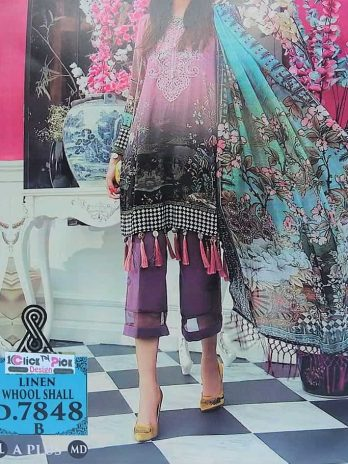 Linen Neck Embroidery Dress With Whool Shall 3PCS online Shopping Kharian Pakistan