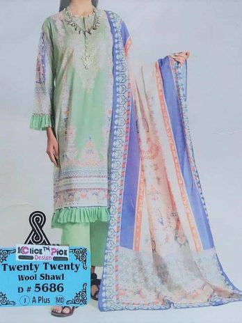Twenty Twenty Neck Embroidery Dress With Wool Shawl Winter Design 2020 Online Shopping Kharian Pakistan