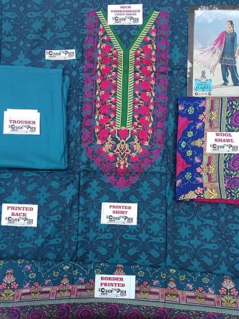 Firozi Linen Neck Embroidery Dress Printed Wool Shawl & Dyed Trouser 3pc Online Shopping Kharian Pakistan Winter Dress